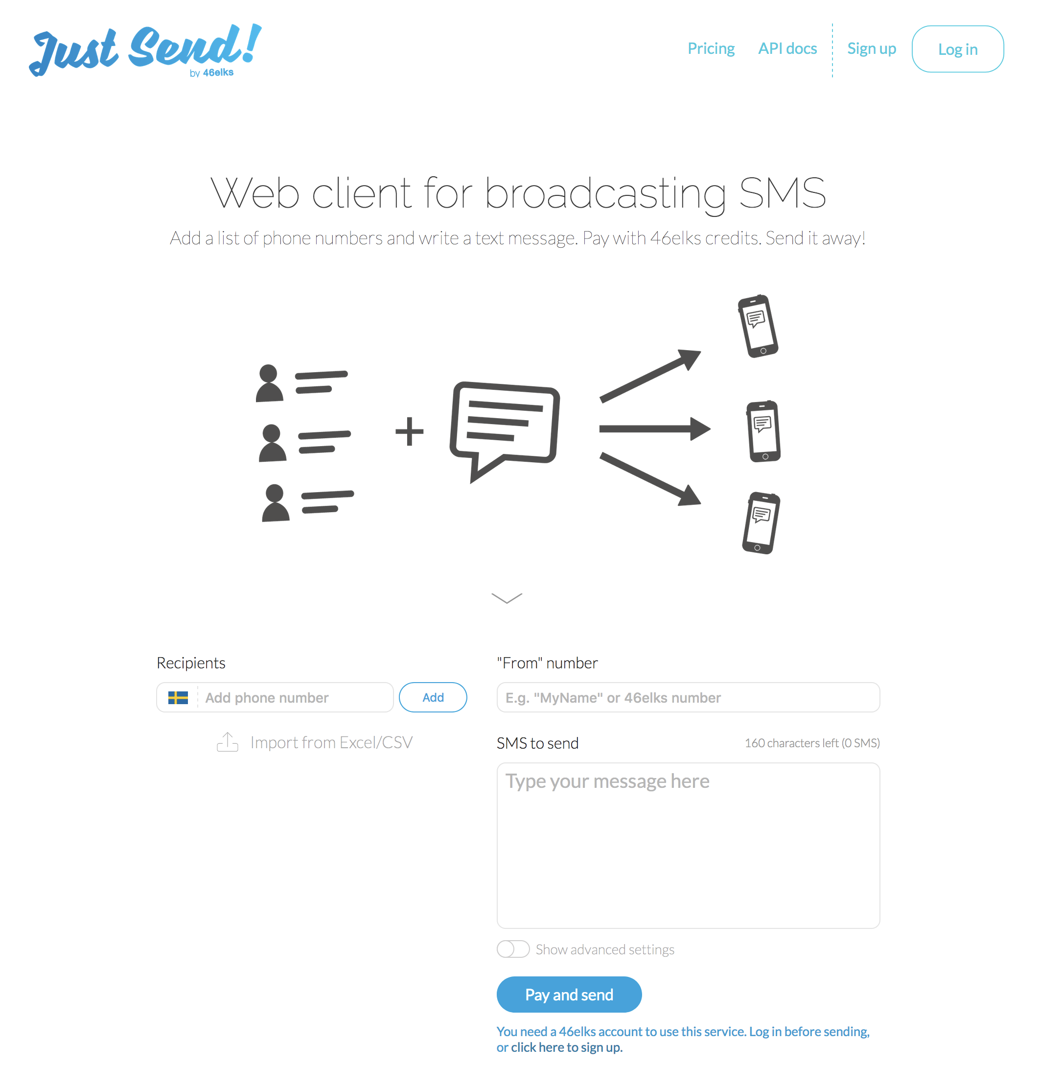just send - send sms online from your browser