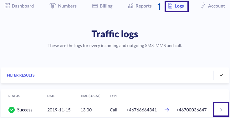 show call logs in your account dashboard